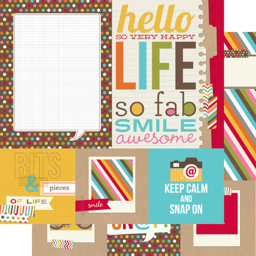 Simple Stories - SNAP Life Collection - 12 x 12 Double Sided Paper - SNAP Quote and Photo Mat Elements