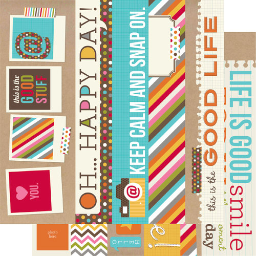 Simple Stories - SNAP Life Collection - 12 x 12 Double Sided Paper - SNAP Border and Title Strip Elements