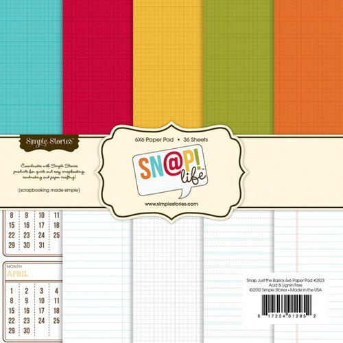 Simple Stories - SNAP Life Collection - 6 x 6 Paper Pad - Basics
