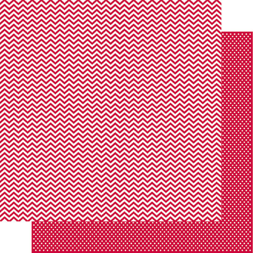 Simple Stories - SNAP Color Vibe Collection - 12 x 12 Double Sided Paper - Red Chevron