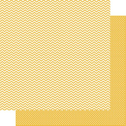 Simple Stories - SNAP Color Vibe Collection - 12 x 12 Double Sided Paper - Yellow Chevron
