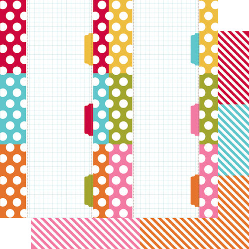 Simple Stories - SNAP Color Vibe Collection - 12 x 12 Double Sided Paper - Dot Stripe Journaling 1