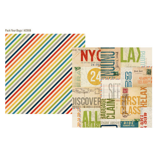 Simple Stories - Urban Traveler Collection - 12 x 12 Double Sided Paper - Pack Your Bags