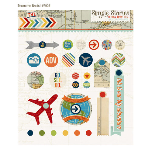 Simple Stories - Urban Traveler Collection - Decorative Metal Brads