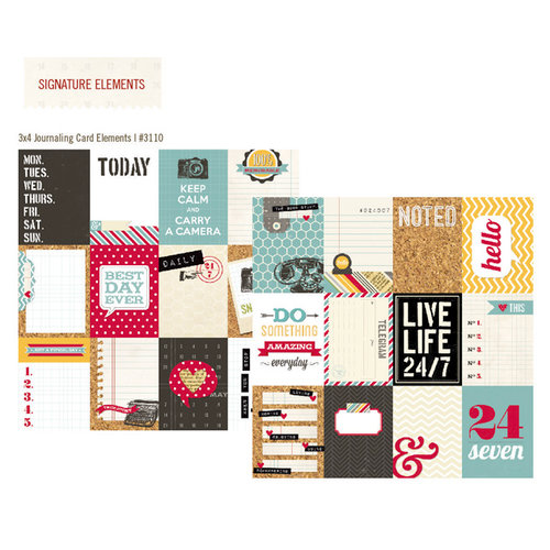 Simple Stories - 24 Seven Collection - 12 x 12 Double Sided Paper - 3 x 4 Journaling Card Elements