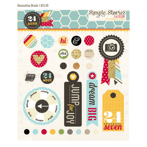 Simple Stories - 24 Seven Collection - Decorative Metal Brads