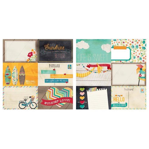 Simple Stories - I Heart Summer Collection - 12 x 12 Double Sided Paper - 4 x 6 Horizontal Journaling Card Elements