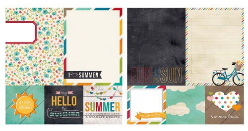Simple Stories - I Heart Summer Collection - 12 x 12 Double Sided Paper - Quote and Photo Mat Elements