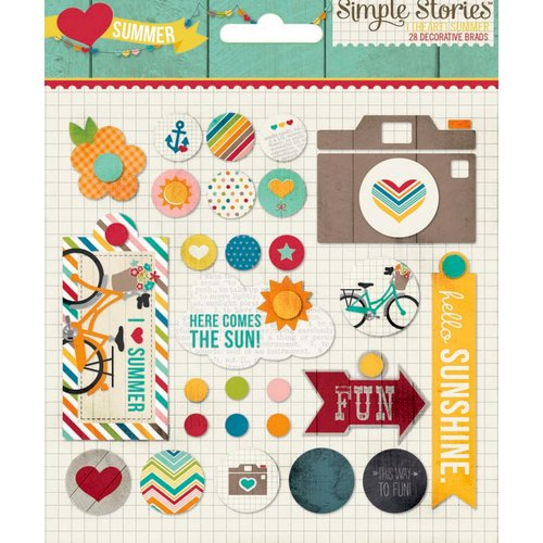 Simple Stories - I Heart Summer Collection - Decorative Metal Brads