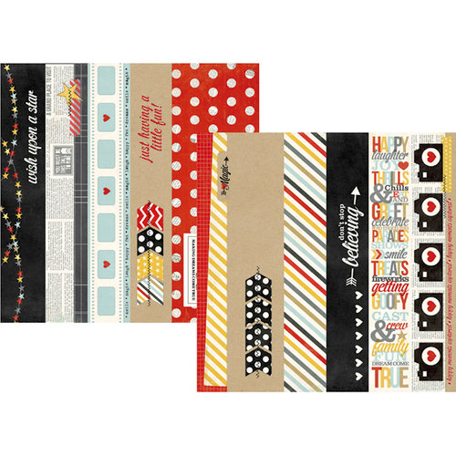 Simple Stories - Say Cheese Collection - 12 x 12 Double Sided Paper - Border and Title Strip Elements