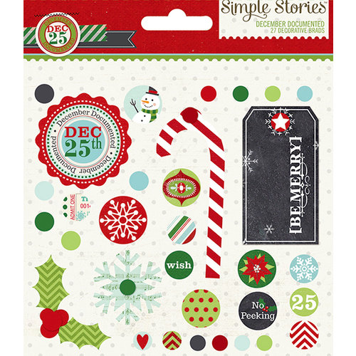 Simple Stories - December Documented Collection - Christmas - Decorative Metal Brads