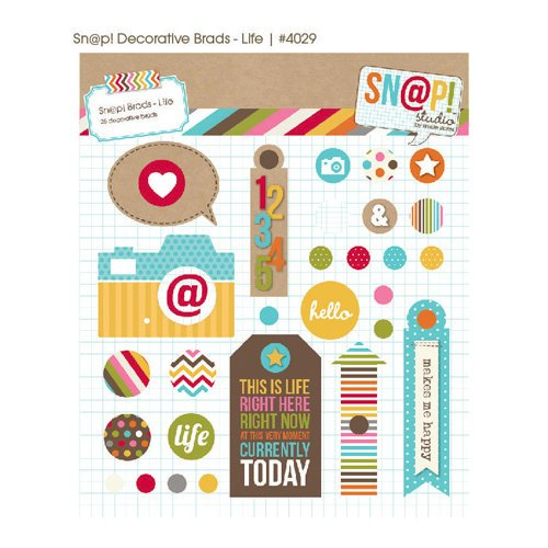Simple Stories - SNAP Studio Collection - Decorative Metal Brads