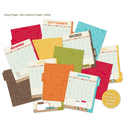 Simple Stories - SNAP Studio Collection - 6 x 8 Journal Insert Pages - Calendar
