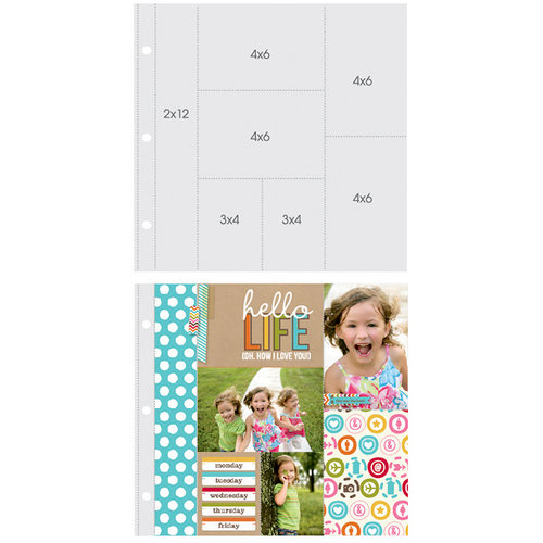 Simple Stories - SNAP Studio Collection - Page Protectors - Two 4 x 6 Two 6 x 4 Two 3 x 4 One 2 x 12 Inch Photo Sleeves - Fits 12 x 12 Three Ring Albums - 10 Pack