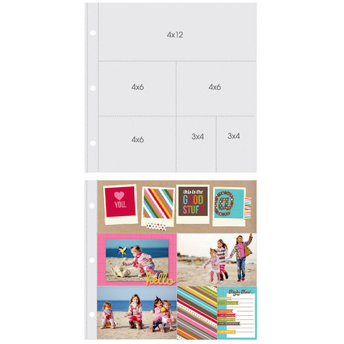Simple Stories - SNAP Studio Collection - 12 x 12 Page Protectors - One 4 x 12 Three 4 x 6 Two 3 x 4 Inch Photo Sleeves - 10 Pack