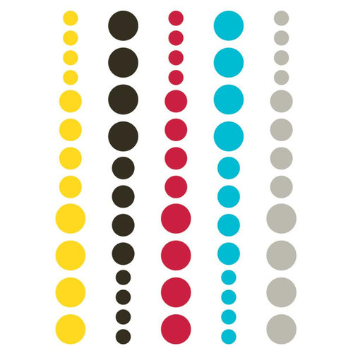 Simple Stories - DIY Collection - Enamel Dots - Teal, Red and Yellow
