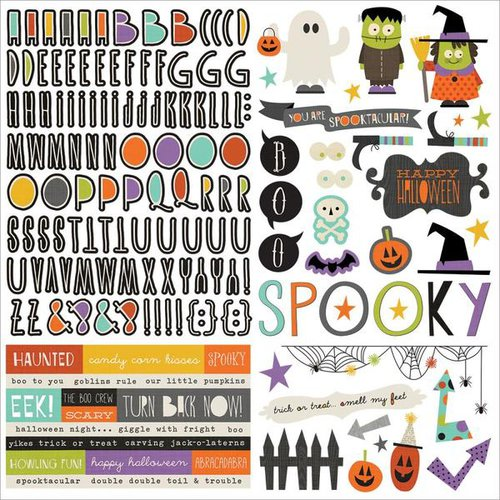 Simple Stories - Frankie and Friends Collection - Halloween - 12 x 12 Cardstock Stickers - Combo
