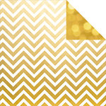 Simple Stories - The Story of Us Collection - 12 x 12 Double Sided Paper - Gold Chevron