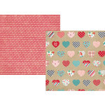 Simple Stories - Hugs and Kisses Collection - 12 x 12 Double Sided Paper - Heartthrob