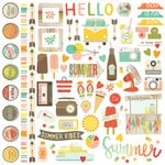 Simple Stories - Summer Vibes Collection - 12 x 12 Cardstock Stickers - Fundamentals