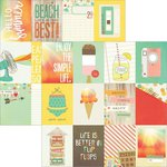 Simple Stories - Summer Vibes Collection - 12 x 12 Double Sided Paper - 3 x 4 Journaling Card Elements