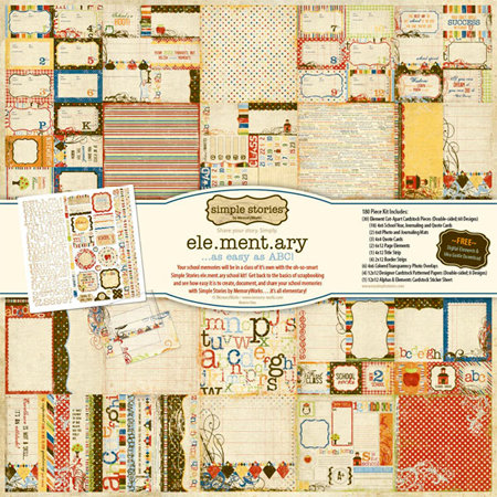 Memory Works - Simple Stories - Elementary Collection - 12 x 12 Collection Pack, BRAND NEW