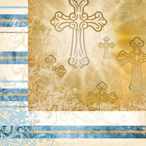 Faith Collection - 12 x 12 Double Sided Paper - Lighted Cross by Moxxie