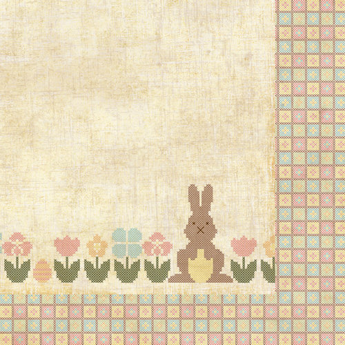 Homespun Easter Collection - 12 x 12 Double Sided Paper - Bunny Trail by Moxxie