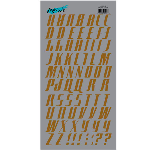 Moxxie - Rub Ons - Alphabet - Brown