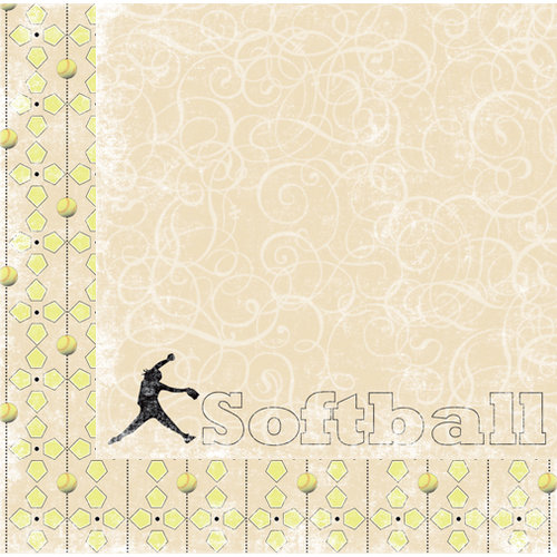 Moxxie - Curve Ball Collection - 12 x 12 Double Sided Paper - Softball