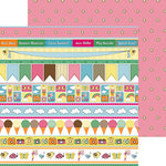 Nikki Sivils - Summer Collection - 12 x 12 Double Sided Paper - Summer Border Strips