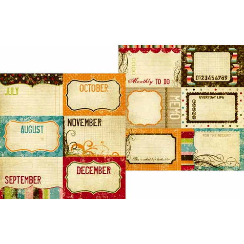 Memory Works - Simple Stories - Life Documented Collection - 12 x 12 Double Sided Paper - Journaling Card Elements 2
