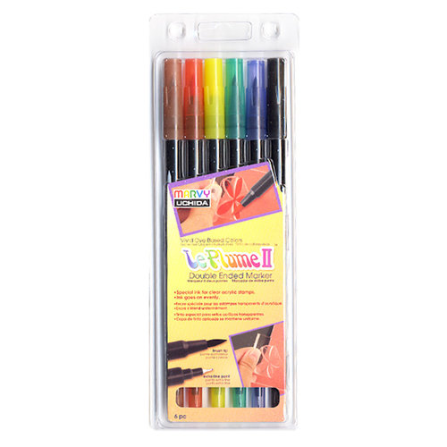 Marvy Uchida - LePlume II - Double Ended Marker Set - 6 Pieces