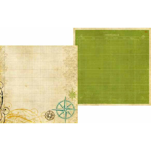 Memory Works - Simple Stories - Destinations Collection - 12 x 12 Double Sided Paper - Travelogue
