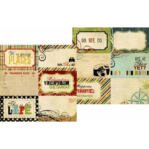 Memory Works - Simple Stories - Destinations Collection - 12 x 12 Double Sided Paper - Journaling Card Elements 2