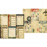Memory Works - Simple Stories - Destinations Collection - 12 x 12 Double Sided Paper - Journaling Card Elements