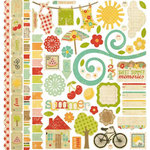 Memory Works - Simple Stories - 100 Days of Summer Collection - 12 x 12 Cardstock Stickers - Fundamentals