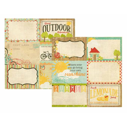 Memory Works - Simple Stories - 100 Days of Summer Collection - 12 x 12 Double Sided Paper - Journaling Card Elements 2