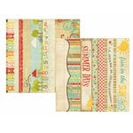 Memory Works - Simple Stories - 100 Days of Summer Collection - 12 x 12 Double Sided Paper - Border and Title Strip Elements
