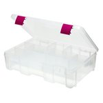 Creative Options - Pro Latch Deep Utility Box - 4-9 Compartments - Clear with Magenta