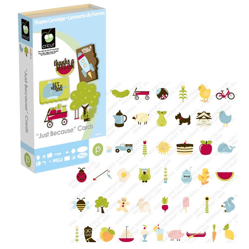 Provo Craft - Cricut Personal Electronic Cutting System - Just Because - Cards and Shapes Cartridge, CLEARANCE