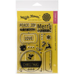 Waffle Flower Crafts - Clear Acrylic Stamps - Christmas - Holiday Labels - Merry