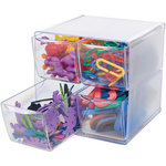 Deflecto - Stackable Clear Cube Storage Organizer - 4 Drawer