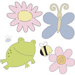 Provo Craft - Cuttlebug - Die Cut Set - 4 Die Cuts - Garden Creatures