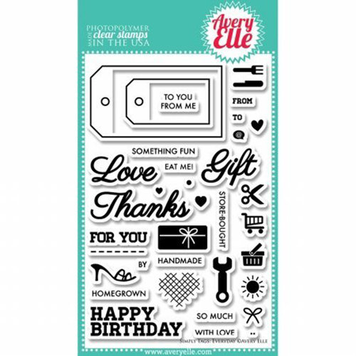 Avery Elle - Clear Acrylic Stamps - Simply Tags - Everyday