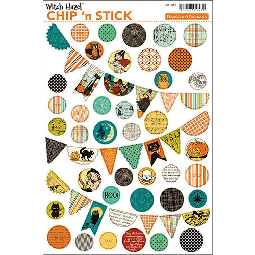 October Afternoon - Witch Hazel Collection - Halloween - Chip 'n Stick - Self Adhesive Chipboard - Buttons and Banners