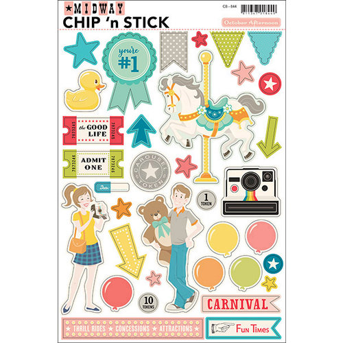 October Afternoon - Midway Collection - Chip 'n Stick - Self Adhesive Chipboard - Variety