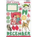 October Afternoon - Make it Merry Collection - Christmas - Chip 'n Stick - Self Adhesive Chipboard - Variety