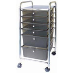 Cropper Hopper - Home Center Rolling Cart - 6 Drawers - Smoke