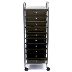 Cropper Hopper - Home Center Rolling Cart -10 Drawers - Smoke